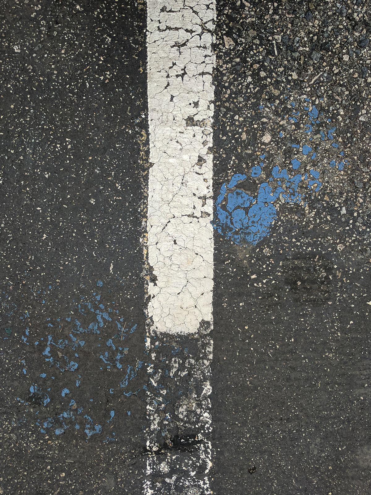 white stripe blue splatter